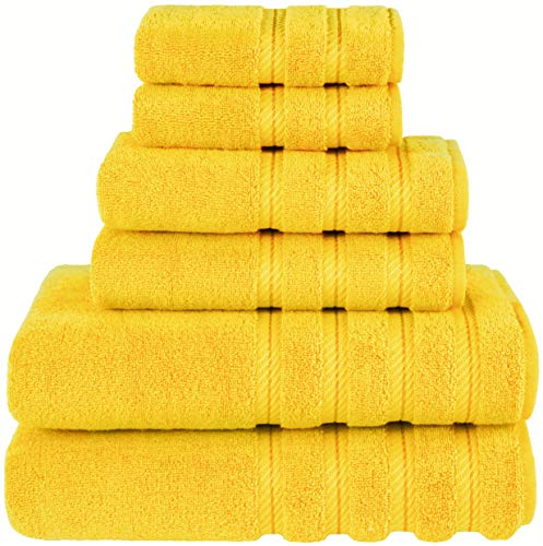 American Soft Linen 6-Piece 100% Organic Turkish Cotton Premium & Luxury Towel Set for Bathroom & Kitchen, 2 Bath Towels, 2 Hand Towels & 2 Washcloths [Worth $72.95] – Yellow
