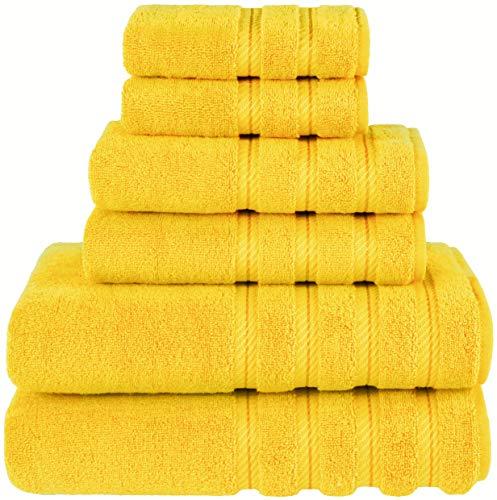 American Soft Linen 6-Piece 100% Organic Turkish Cotton Premium & Luxury Towel Set for Bathroom & Kitchen, 2 Bath Towels, 2 Hand Towels & 2 Washcloths [Worth $72.95] – Yellow