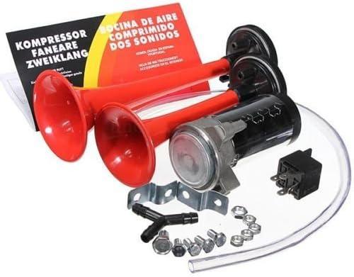 WOVELOT 12v 135db Kit dAria compressore rele trombe clacson Auto Moto Camion Camper
