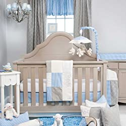 Glenna Jean Starlight Boy's 3 Piece Crib Bedding Set, Blue/White/Grey/Silver Metallic