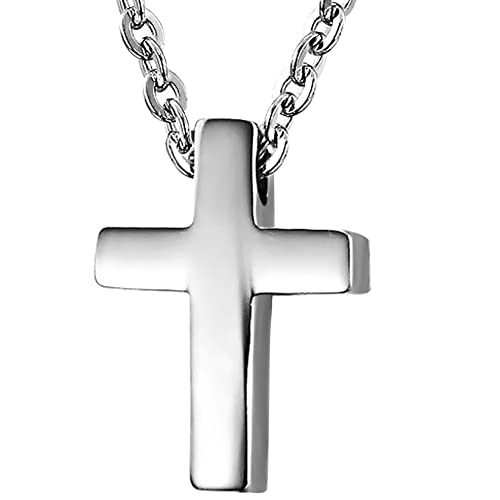 Damen Halskette Kreuz Anhänger mit 44cm Kette Rose Gold Edelstahl Schmuck X797