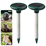 Accmor Solar Powered Sonic Mole Repeller Set of 2, Effective Gopher Repellent, Yard Ground Mole Killer with Spike - Natural Pest Control for Mole,Voles, Rodent, Gopher Rats and Mice