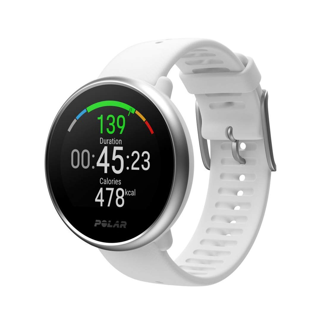 POLAR IGNITE - Advanced Waterproof Fitness Watch (Includes Polar Precision Heart Rate, Integrated GPS and Sleep Plus Tracking), White/Silver, M/L by POLAR