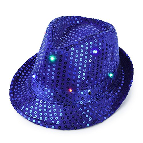 Vbiger LED Sequin Fedoras Panama Hat