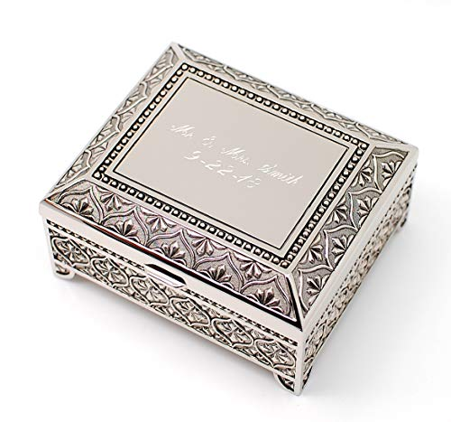 Newfavors Personalized Jewelry Box with 3 Lines Text Engraving - Engraved 4 inch Antique Jewelry Box Bridesmaid or Flower Girl (Personalized Gift Box)