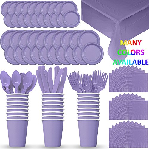 HeroFiber Disposable Paper Dinnerware for 24 - Lavender - 2 Size Plates, Cups, Napkins , Cutlery (Spoons, Forks, Knives), and tablecovers - Full Party Supply -