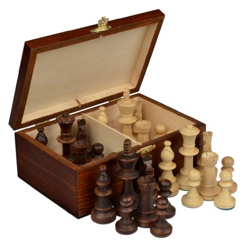 Staunton No. 5 Tournament Chess Pieces w/ Wood Box by Wegiel