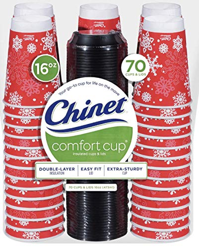 Christmas Holiday Winter Party Paper Comfort Coffee Disposable Cups with Lids (70 Count) |Hot & Cold Drinkware, Tea, Coffee, Cocoa| To go cups| Party Favor Cups Adults| Giveaways Cups| Made in USA