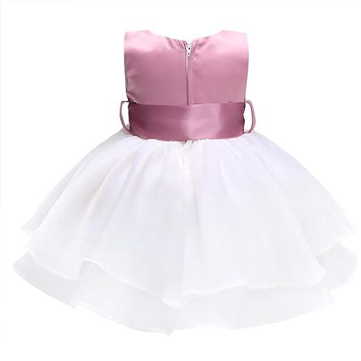 56da5a462 YiZYiF Vestido Bebé Niña Comunión 0-9 Meses Tutú Bautizo Sin Manga Perla  Vestido Princesa Fiesta Cumpleaños  Amazon.es  Ropa y accesorios