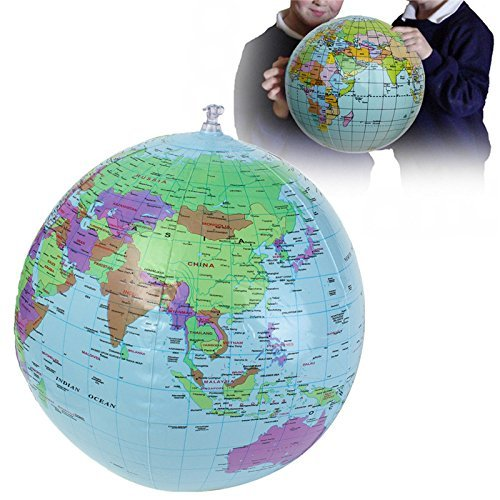 40cm Inflatable World Earth Globe Atlas Map Beach Ball Science Geography ()