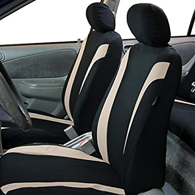 FH Group FB054102 Cosmopolitan Flat Cloth Pair Set Car Seat Covers, Airbag Compatible, Beige/Black Color w. Gift -Fit Most Car, Truck, SUV, or Van: Automotive