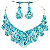 Affordable Wedding Jewelry Aqua Blue Ab Rhinestone Statement Silver Chain Necklace Earrings Set