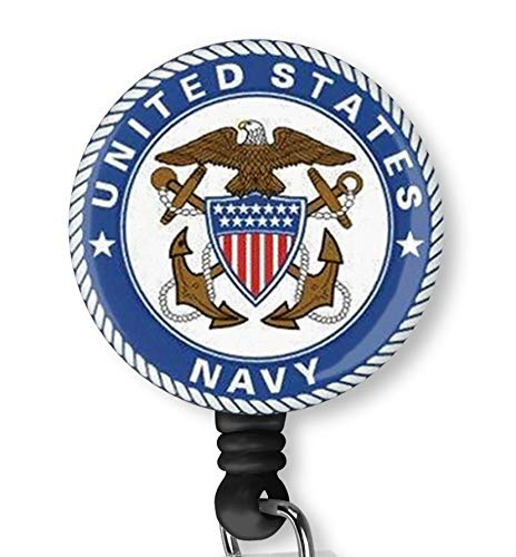 United States Navy U.S. Navy Retractable ID Card Badge Holder with Alligator Clip, Name Nurse Decorative Badge Reel Clip on Card Holders (Us Reel)