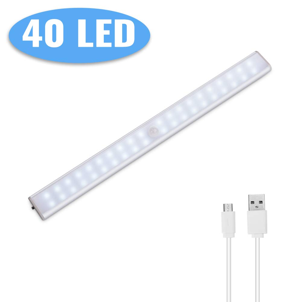 2Pcs Luz de Armario Sensor de Movimiento,Lacyie 24LED USB Recargable Pilas Automático Luces con Interruptor Tira Magnética Barra,Lámpara Inalámbrica ...