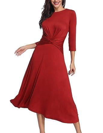 d3db36e057 Azalosie Women's Tummy Control Dress Round Neck Long Sleeve Midi Semiformal  Casual Party Fit Flare Maxi Dress at Amazon Women's Clothing store: