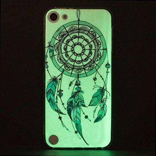 Funda iPod 5,Noctilucent Carcasa iPod 6 Anfire Suave Silicona Gel TPU Fluorescent Bumper Case Ultra Ligero Anti Rasguños Anti-Gota Anti Slip Luminous Soft Shell para iPod Touch 5 / 6 [4.0 Pulgadas] Ba Campanula
