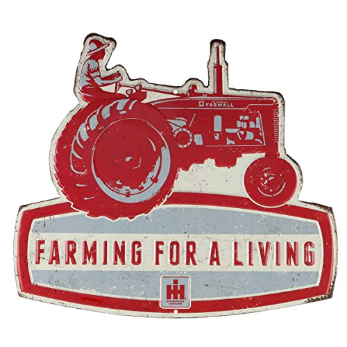 Open Road Brands Farmall Farming for a Living Die Cut Embossed Tin (Farm Tractor Sign)