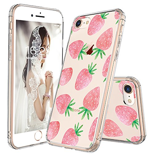 iPhone 7 Case, iPhone 8 Case Clear, MOSNOVO Cute Strawberry Pattern Clear Design Printed Transparent Plastic Hard Case with TPU Bumper Protective Case Cover for iPhone 7 (2016) / iPhone - Cell Case Phone Strawberry