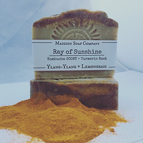 Ylang-Ylang, Lemongrass Essential Oils. Kombucha Soap. Turmeric Soap. Ray of Sunshine, Kombucha Organic Handmade Shea Butter Soap. Palm Oil Free. Crue…