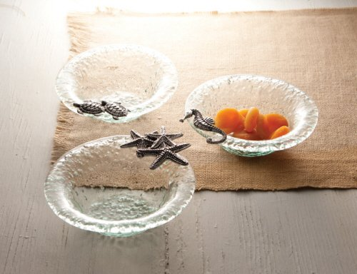 Christmas Tablescape Decor - Glass condiment bowls with sea life icons - Set of 3 by Mud Pie