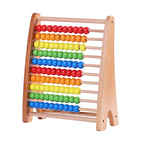 Wondertoys Wooden Abacus Educational Counting Toy 100 Beads Math Tool Toddler Gifts for 1 2 3 Year Old Boys and ()