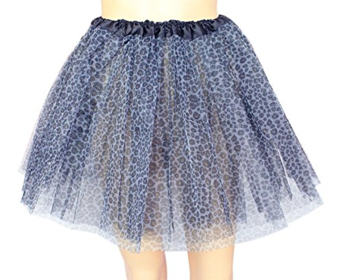 Women's, Teen, Adult Classic Elastic 3, 4, 5 Layered Tulle Tutu Skirt (One Size, Black Leopard 3Layer) (Leopard Race)