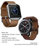 22mm Leather Band Quick Release (Samsung Gear S3 Frontier/Classic, Fitbit Blaze, Pebble 2 / Time Steel), Truffol Strap Genuine Leather (Vintage Cognac Brown)