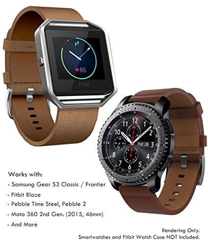 Diesel Buckle Closure Belt (22mm Leather Band Quick Release (Samsung Gear S3 Frontier/Classic, Fitbit Blaze, Pebble 2 / Time Steel), Truffol Strap Genuine Leather (Vintage Cognac)