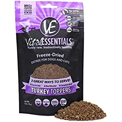 Vital Essentials Freeze-Dried Turkey Toppers Grain Free Limited Ingredient for Dogs or Cats, 6 Ounce Bag