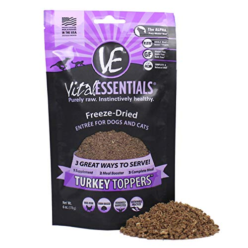 Vital Essentials Turkey Topper for Dogs Cats USA Made All Natural Freeze-Dried Grain Free Great for Picky Eaters Season Your Pups Kibble Raw Nutrition Booster Or Simply Add Water for Gravy 6 oz