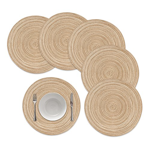 Round Placemats,Famibay Round Braided Place Mats For Dining Table Heat Insulation Table Mats for Kitchen 15 inches(Khaki,set of 6)