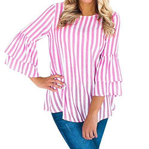 (YKARITIANNA Women Fashion O Neck Long Flare Sleeve Striped Top Casual Blouse Tops T-Shirt)