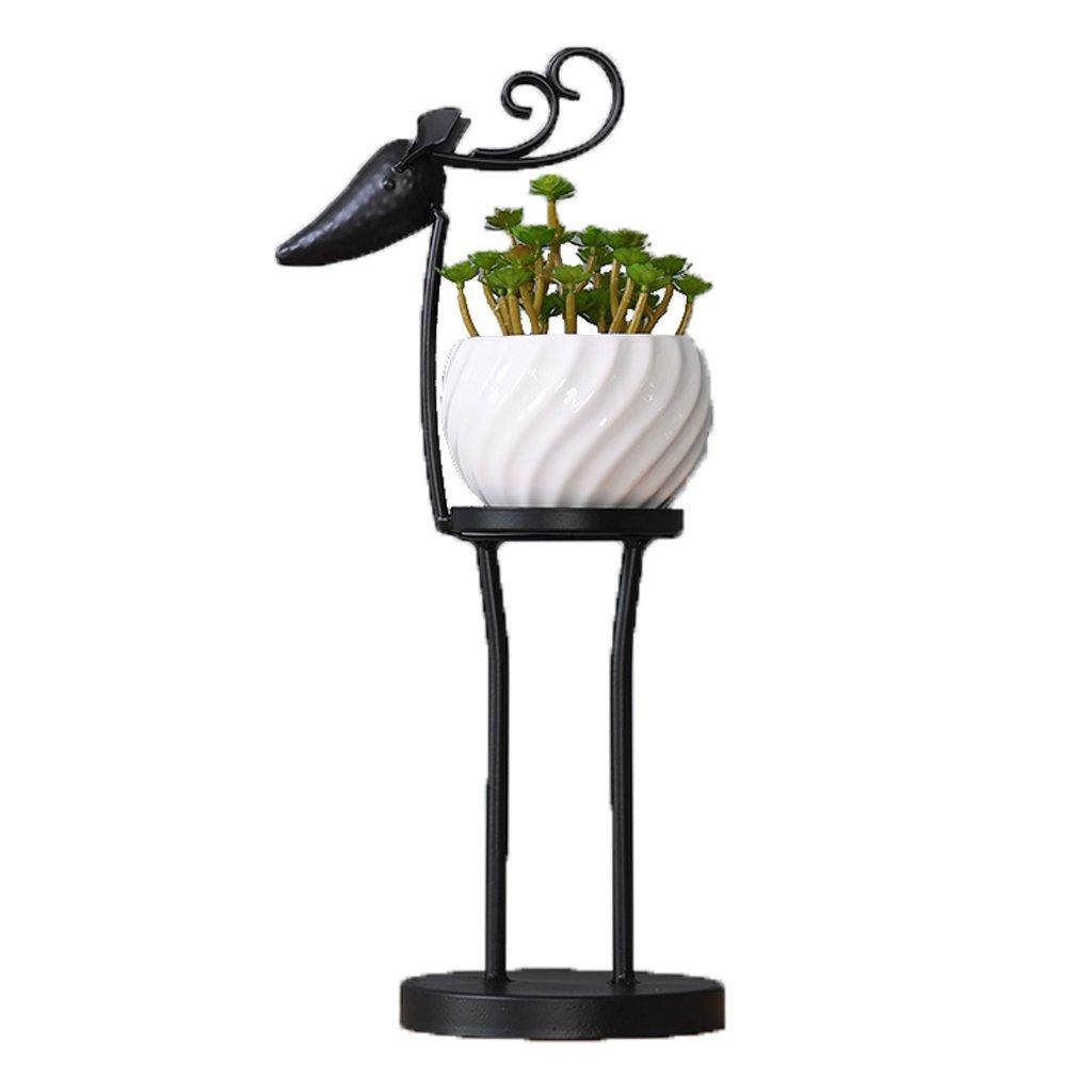 MSF Stand di Fiori Flower Stand, Piccoli Stand in Metallo, pianta da fioriera espositore per scaffali, Decorazioni Nere
