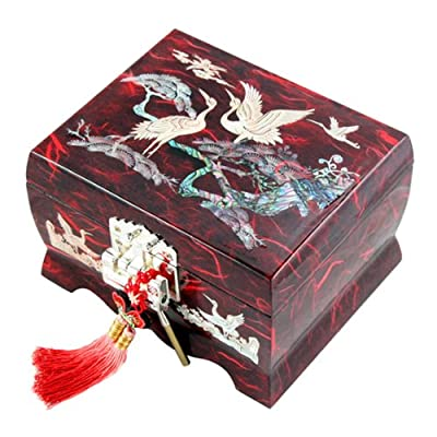 Mother of Pearl Musical Bird Design Wooden Girls Jewelry Mirror Trinket Keepsake Treasure Gift Music Asian Lacquer Box Case Chest Organizer with Crane and Pine Tree in Red Mulberry Paper