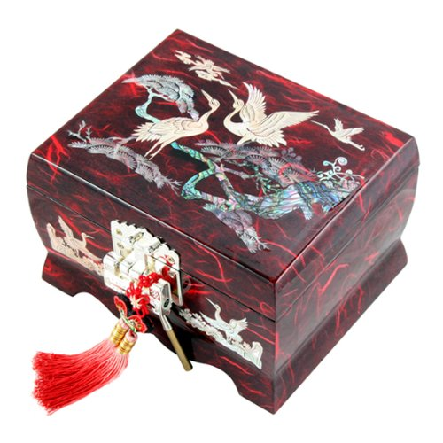 Asian Jewelry Box - Mother of Pearl Musical Bird Design Wooden Girls Jewelry Mirror Trinket Keepsake Treasure Gift Music Asian Lacquer Box Case Chest Organizer with Crane and Pine Tree in Red Mulberry Paper