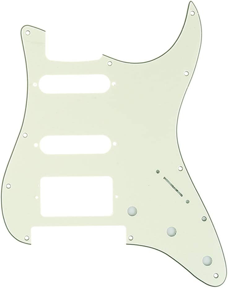 4Ply Tortoise Shell Musiclily Pro 11-Hole Modern Style Strat HSS Guitar Pickguard for American//Mexican Fender Stratocaster Floyd Rose Bridge Cut