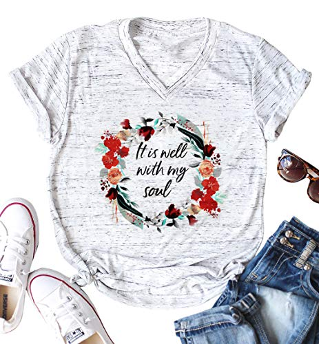 (It is Well with My Soul Christian T Shirt Women Funny Letter Print Flowers Garland Graphics Tops Tee for Women Light Grey)