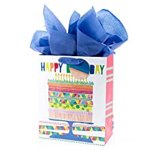 """Hallmark 13"""" Large Gift Bag with Tissue Paper (Bright Cake) for Birthdays, Parties and More"""