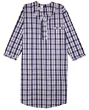 Men's Comfortable Cotton/Poly Back Snap Nightshirt Gown Long Sleeve Size L - Blue & Red Plaids