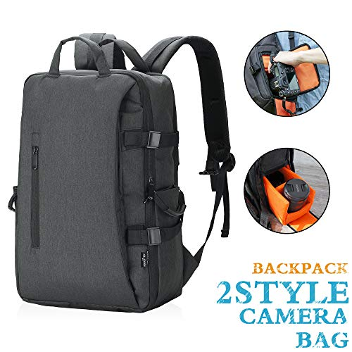 MOOITEK Digital SLR Camera Backpack w/15.6″ Laptop Compartment Featuring Padded Custom Dividers, Tripod Holder, Rain Cover. Long-Lasting Durability & Storage Pockets – Compatible w/Many DSLR Cameras