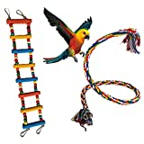 Yuccer Macaw Toys, Bird Swing Parrot Rope Ladder Parrot Accessories Cage Toys for Cockatiel Parakeet Love Birds (Random Color)