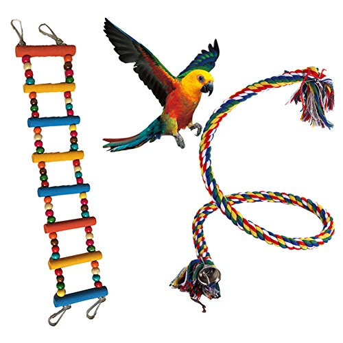 Yuccer Macaw Toys, Bird Swing Parrot Rope Ladder Parrot Accessories Cage Toys for Cockatiel Parakeet Love Birds (Random Color) by Yuccer
