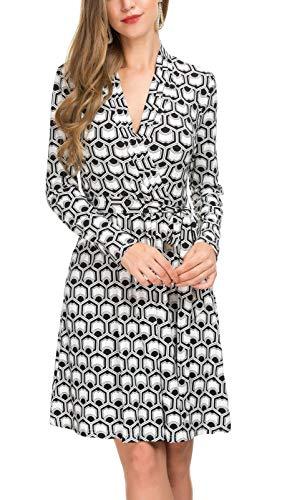 Le Vonfort Long Sleeve Dress for Womens, Ladies Loose Fit Geometric Print V Neck Office Dress Black White ()