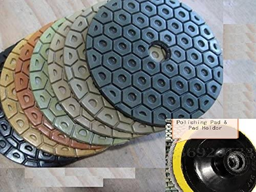 7 Inch Diamond Polishing Pad Grit 50 100 (13+1 Pieces) stone fabrication granite repair marble renew concrete grinding masonry rock lapidary terrazzo grinder wet polisher