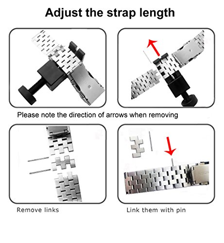 Kai Tian Stainless Steel Watch Strap Polished Matt Finish Watch Band 22mm Double Buckles Clasp Replacement Bracelet Wristband - Silver by Kai Tian (Image #6)