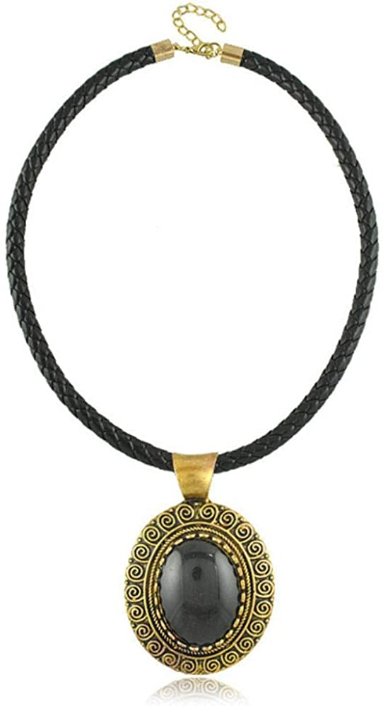 Pan•RUORA Collar De Mujer Elíptico Vintage Cordón De Cuero Áspero PU Collar Tejido Negro Piedra Preciosa Grande con Cadena