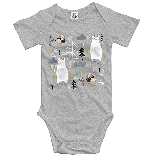 Infant Bear Floral Elements Hedgehog Babysuit Short Sleeve Jumpsuit Sunsuit Outfit 12 Months Ash (Poster Ash Grey T-shirt)