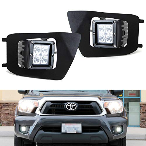 iJDMTOY LED Pod Light Fog Lamp Kit For 2012-15 Toyota Tacoma, Includes (2) 20W High Power CREE LED Cubes, Foglight Bezel Covers, Mounting Brackets & Wiring/Adapter Harnesses