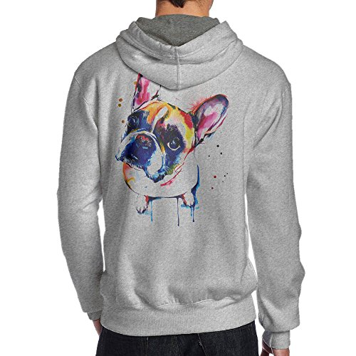 JKUI9 Men's Cute Funny FRENCH BULLDOG Hoodies On The Back Size XL Ash