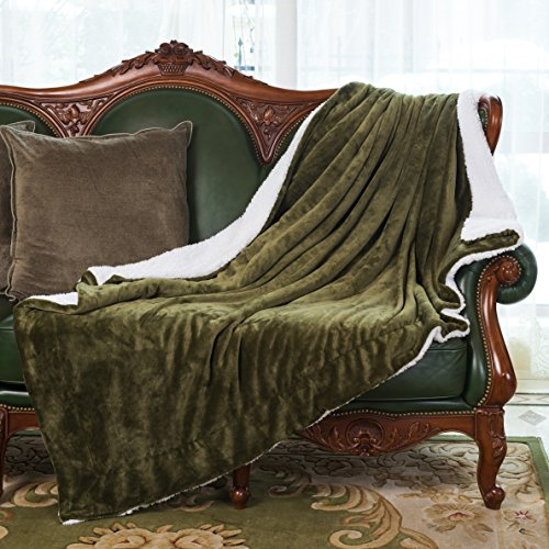 HoroM Sherpa Throw Blanket Sage Green 60